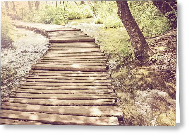 Hiking Path On A Wooden Trail With Retro Vintage Style Greeting Card by Brandon Bourdages