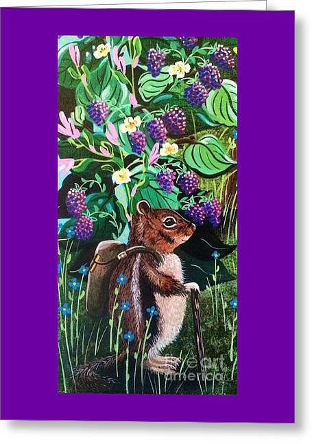 Backpacking Paintings Greeting Cards - Hiking the Berry Patch Greeting Card by Jennifer Lake