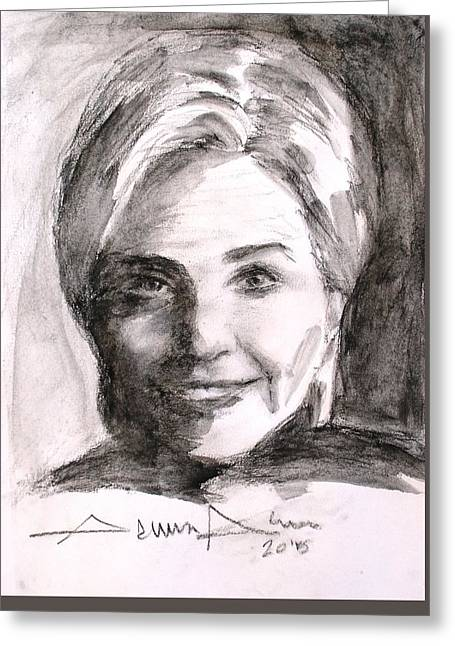 First-lady Drawings Greeting Cards - Hillary Clinton Greeting Card by Salman Ameer
