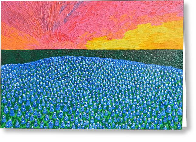 Impressionism Reliefs Greeting Cards - Hill Country Pride Greeting Card by Liza Wheeler