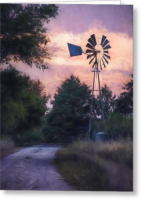 Dirt Road Greeting Cards - Hill Country windmill Greeting Card by Scott Norris