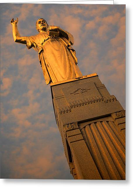 Gold Angel Greeting Cards - Hill Cumorah Sunset Greeting Card by Stephen Stookey