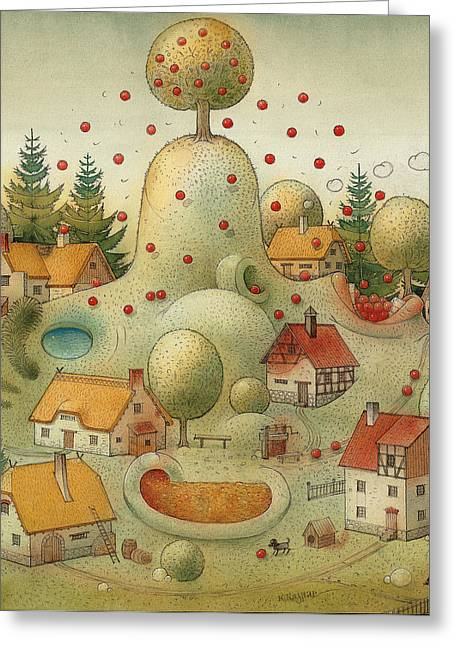 Autumn Drawings Greeting Cards - Hill Greeting Card by Kestutis Kasparavicius