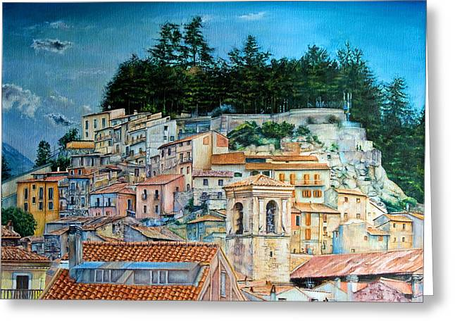 Hill Village Greeting Card by Michel Angelo Rossi