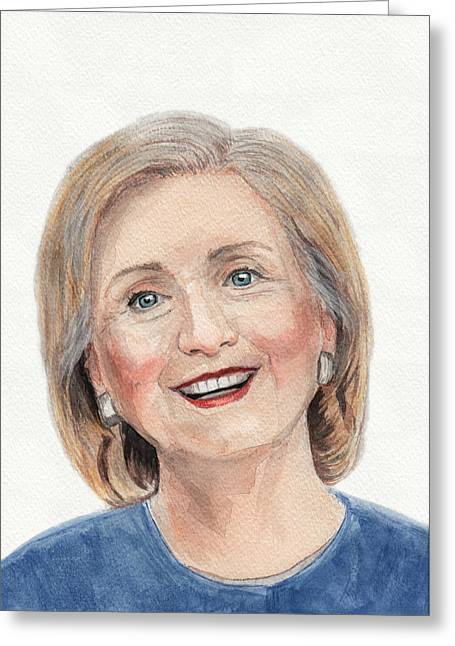 First Lady Drawings Greeting Cards - Hillary Clinton Greeting Card by Igor Bazilevskii