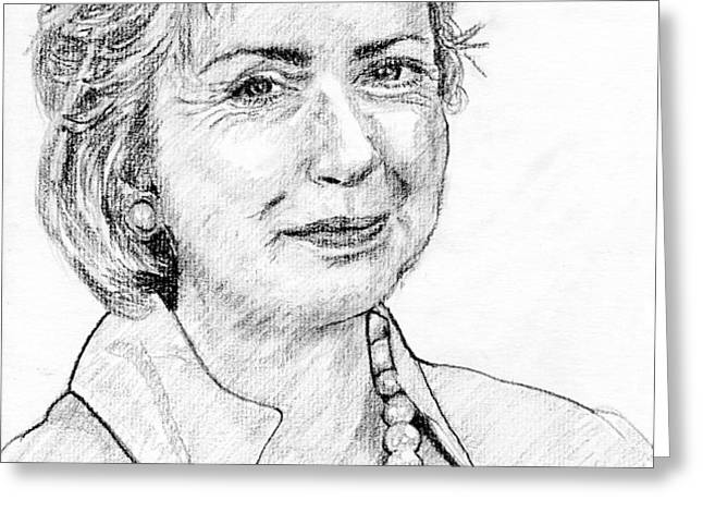 Hillary Clinton Pencil Portrait Greeting Card by Romy Galicia