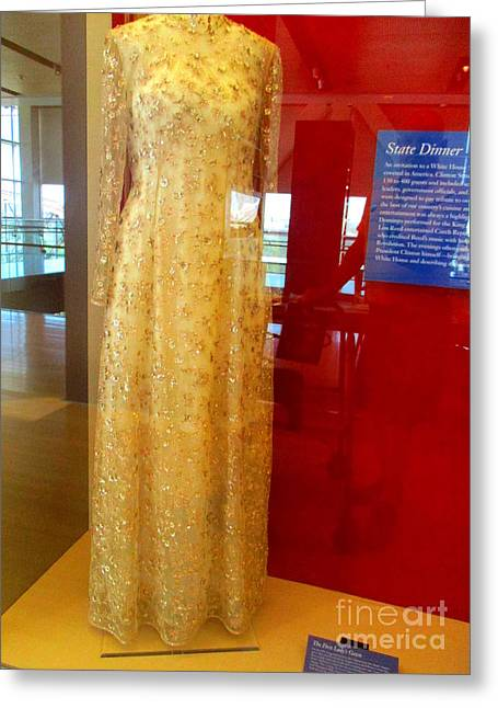 Hillary Clinton State Dinner Gown Greeting Card by Randall Weidner