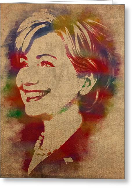 Hillary Rodham Clinton Watercolor Portrait Greeting Card by Design Turnpike