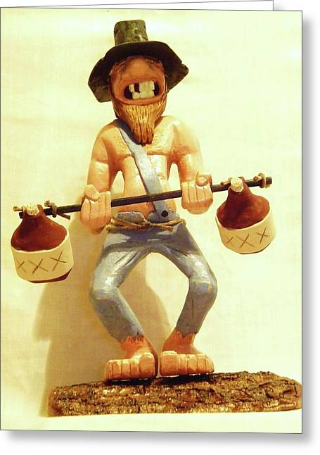 Woodcarving Greeting Cards - Hillbilly Weightlifter Greeting Card by Russell Ellingsworth