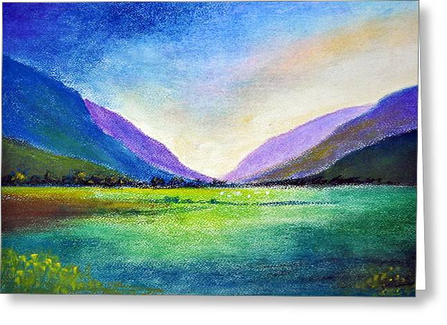Setting Pastels Greeting Cards - Hills and Vale Greeting Card by Shreekant Plappally