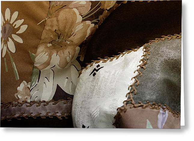 Quilt Art Greeting Cards - Hills and Valleys Greeting Card by Bonnie Bruno