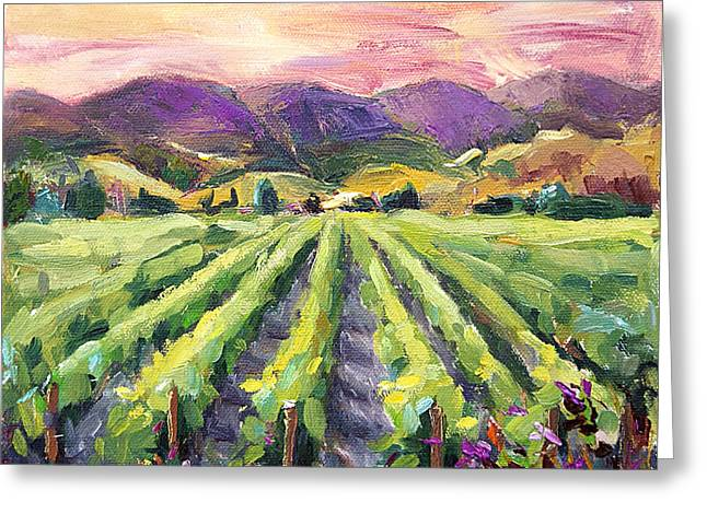 Grapevines Paintings Greeting Cards - Hills of Fire Greeting Card by Jennifer Beaudet