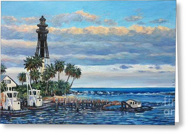 Hillsboro Lightouse At Sunset Greeting Card by Danielle Perry
