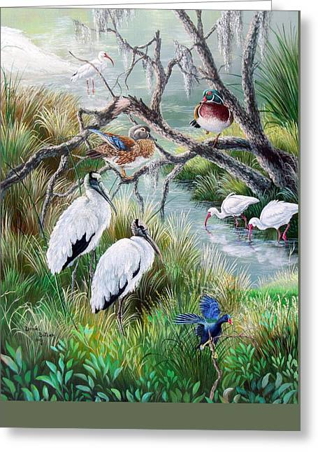 Stream Greeting Cards - Hillsborough River- Birds of a Feather Greeting Card by Daniel Butler