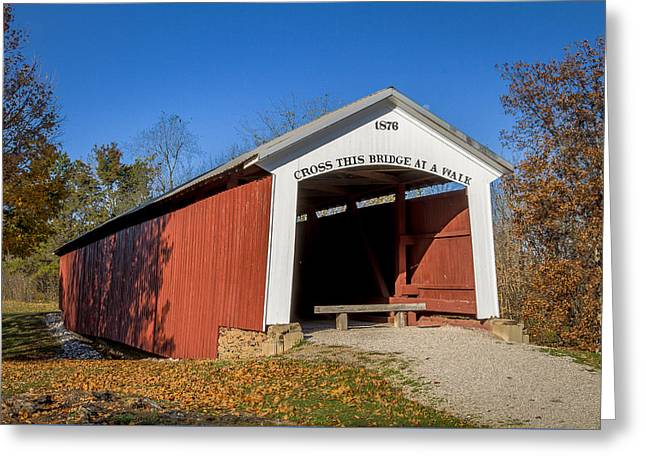 Hillsdale/possum Bottom/jackson's Ford Covered Bridge Greeting Card by Jack R Perry
