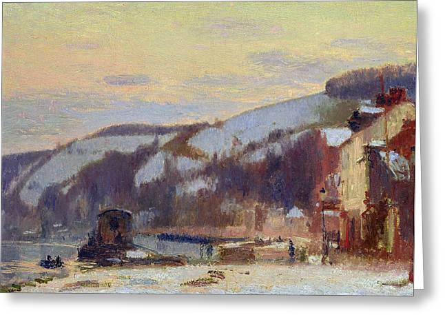 Snowy Evening Greeting Cards - Hillside at Croisset under snow Greeting Card by Joseph Delattre