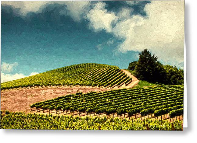 Pinot Noir Digital Greeting Cards - Hillside Curves Greeting Card by John K Woodruff