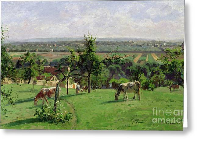 Farming Greeting Cards - Hillside of Vesinet Greeting Card by Camille Pissarro