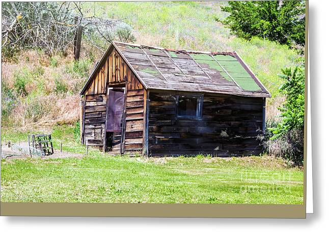 Sheds Greeting Cards - Hillside Shack Greeting Card by Jean OKeeffe Macro Abundance Art