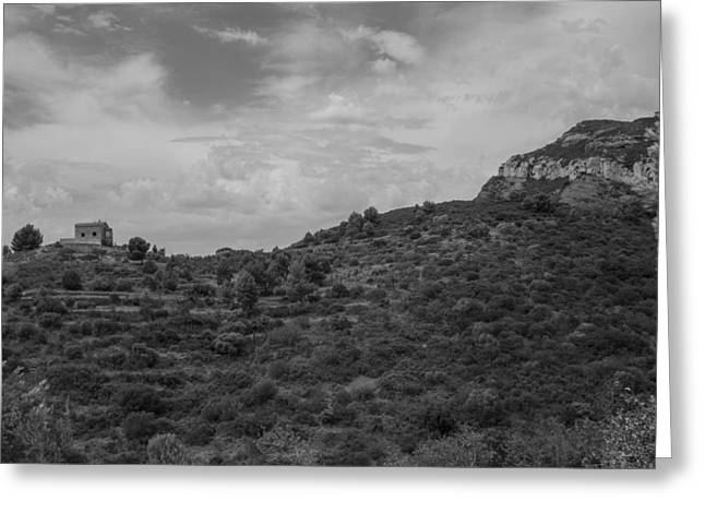 Cliffs And Houses Greeting Cards - Hilltop House Greeting Card by Nomad Art And  Design