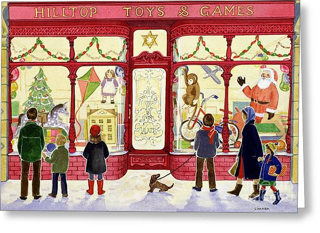 Winter Fun Paintings Greeting Cards - Hilltop Toys and Games Greeting Card by Lavinia Hamer