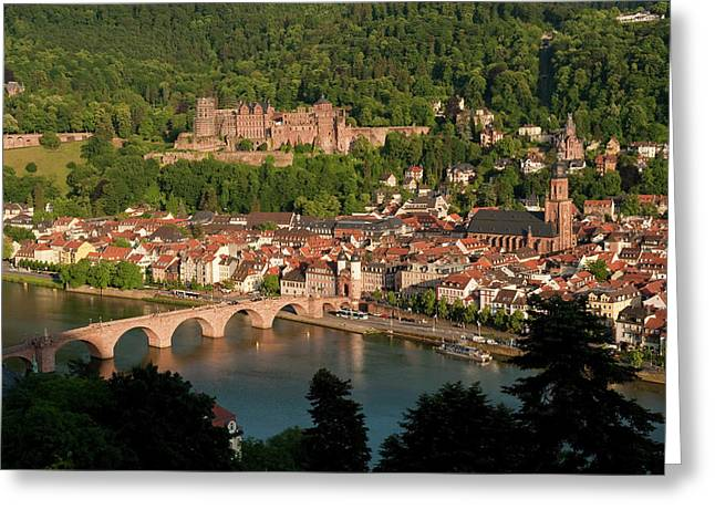 Arch Greeting Cards - Hilltop View - Heidelberg Castle Greeting Card by Greg Dale
