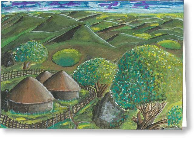 African Huts Greeting Cards - Hilltop View Greeting Card by Ken Nganga