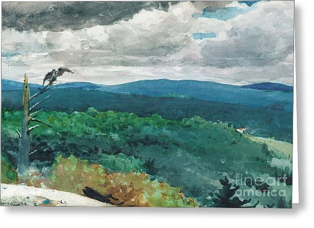 On Paper Paintings Greeting Cards - Hilly Landscape Greeting Card by Winslow Homer