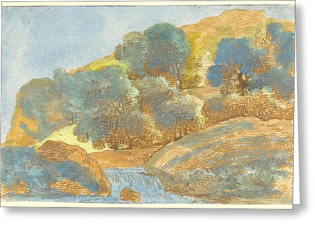 Prospects Greeting Cards - Hilly Landscape With A Stream Greeting Card by Franz Innocenz Josef Kobell