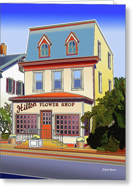 Catonsville Greeting Cards - Hilton Flower Shop Greeting Card by Stephen Younts
