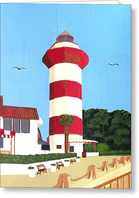 Head Harbour Lighthouse Greeting Cards - Hilton Head Lighthouse Painting Greeting Card by Frederic Kohli