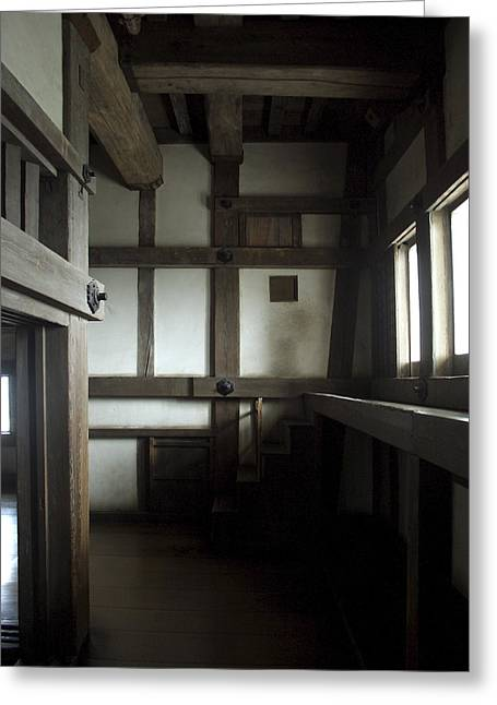 Shogun Photographs Greeting Cards - Himeji Medieval Castle Interior - Japan Greeting Card by Daniel Hagerman