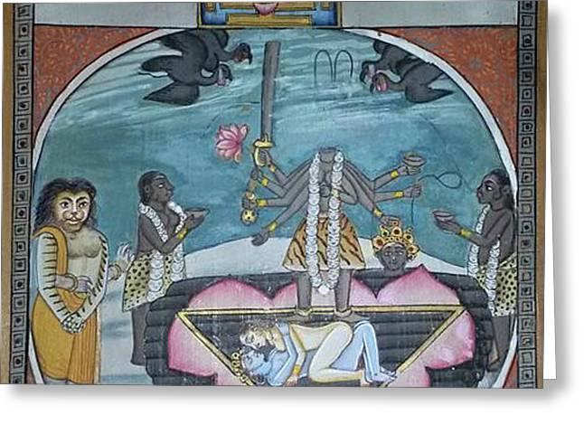 Cushion Greeting Cards - Hindu Goddess Kali Kalika Tantra Yantra Yoga Meditation  Greeting Card by A K Mundra