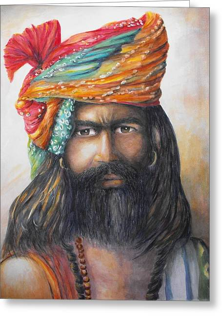 Bannister Paintings Greeting Cards - Hindu Holy Man Greeting Card by Debra  Bannister