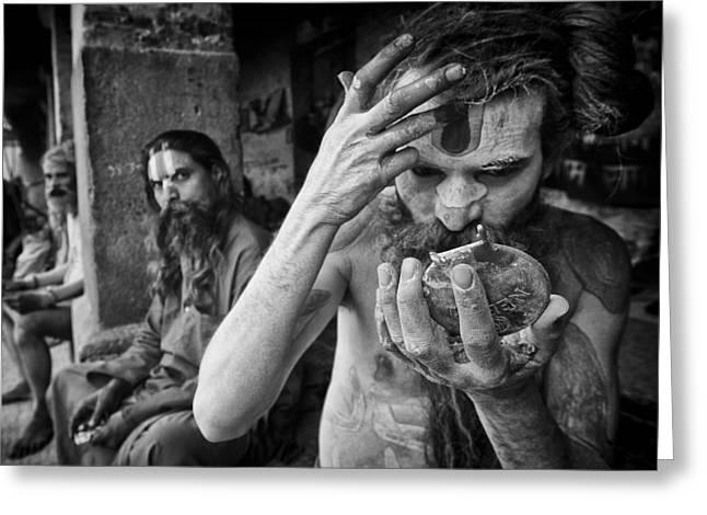 Begging Bowl Greeting Cards - Hindu Sadhus 1 Greeting Card by David Longstreath