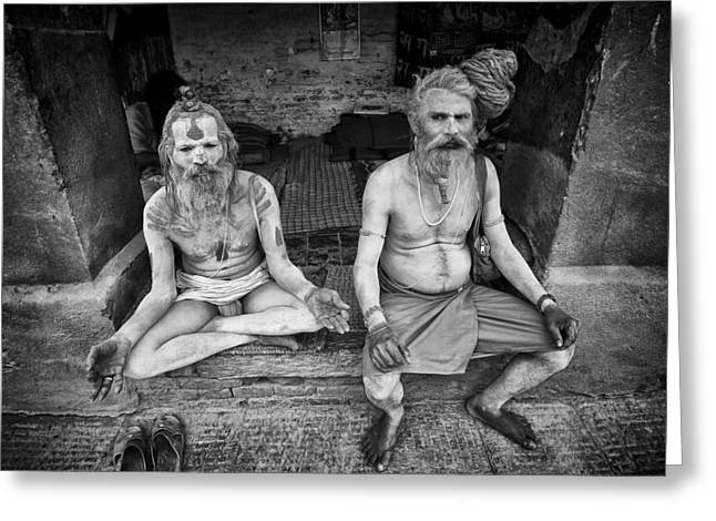 Begging Bowl Greeting Cards - Hindu Sadhus 2 Greeting Card by David Longstreath