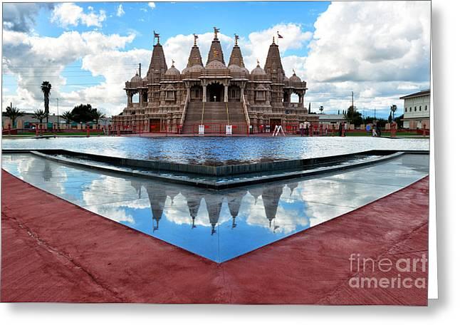 Hindu Temple Baps Shri Swaminarayan Mandir Greeting Card by Peter Dang