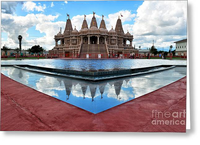 Hindu Goddess Photographs Greeting Cards - Hindu Temple BAPS Shri Swaminarayan Mandir Greeting Card by Peter Dang