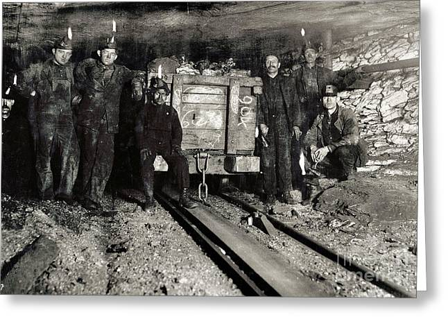 Pennsylvania Photographs Greeting Cards - Hine: Coal Miners, 1911 Greeting Card by Granger