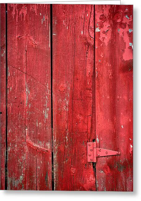 Old Wood Greeting Cards - Hinge on a Red Barn Greeting Card by Steve Gadomski