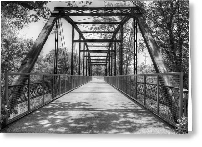 Boone County Greeting Cards - Hinkson Creek Bridge in Black and White Greeting Card by Cricket Hackmann