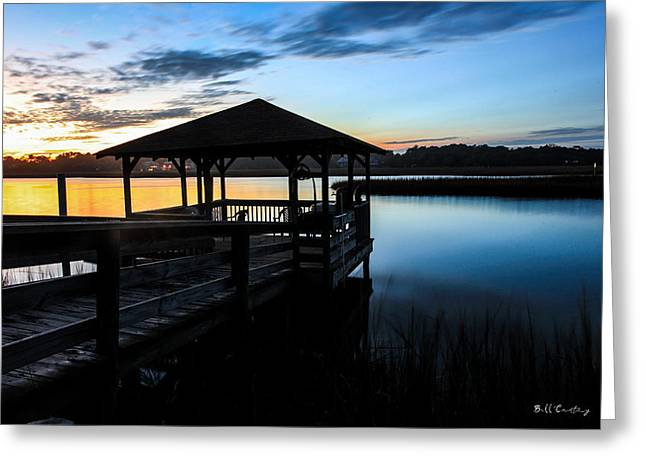River. Clouds Greeting Cards - Hinson House Dock Greeting Card by Bill Cantey
