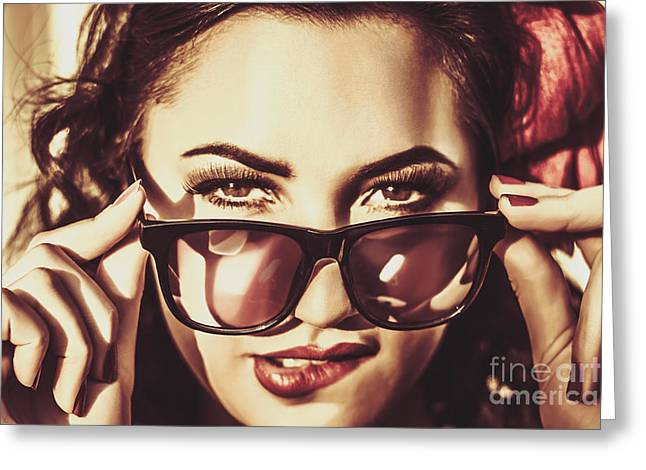 60s Hair Greeting Cards - Hip 60s pinup girl in classic eyewear sunglasses Greeting Card by Ryan Jorgensen
