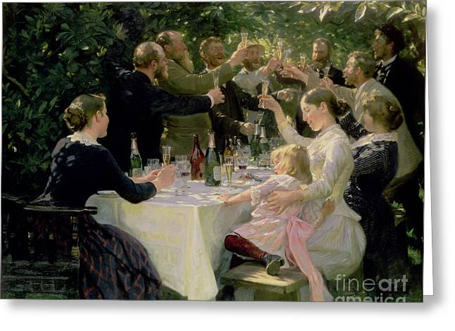 Champagne Glasses Greeting Cards - Hip Hip Hurrah Greeting Card by Peder Severin Kroyer
