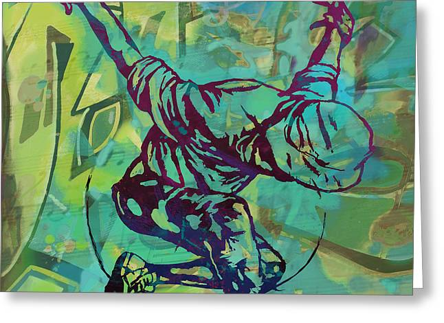 Stylized Mixed Media Greeting Cards - Hip Hop Street Art Dancing poster - 1 Greeting Card by Kim Wang