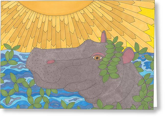 Hippopotamus Drawings Greeting Cards - Hippo Happiness Greeting Card by Pamela Schiermeyer