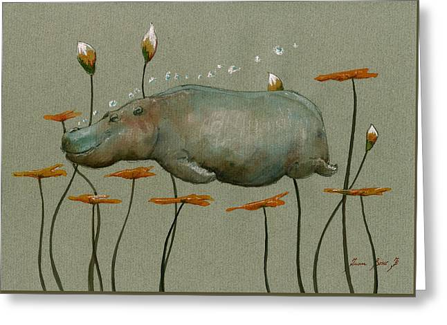 Hippo Underwater Greeting Card by Juan  Bosco