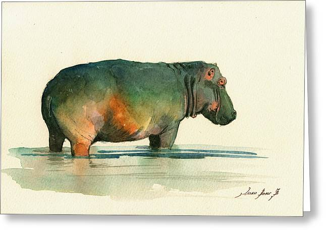 Hippos Greeting Cards - Hippo watercolor painting Greeting Card by Juan  Bosco