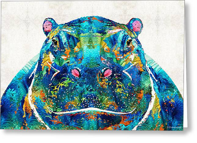 Hippopotamus Art - Happy Hippo - By Sharon Cummings Greeting Card by Sharon Cummings