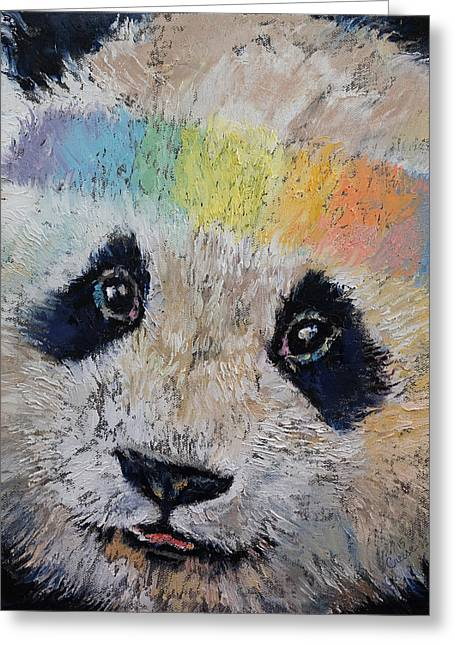 Arc-en-ciel Greeting Cards - Hippy Panda Greeting Card by Michael Creese